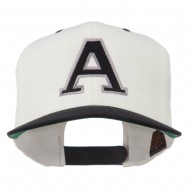 Large A Embroidered Snapback Cap - Natural Black
