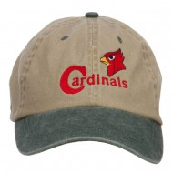 Cardinals Bird Embroidered Washed Two Tone Cap - Khaki Green