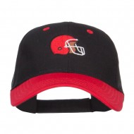 Football Helmet Embroidered Two Tone Cap - Red Black