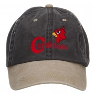 Cardinals Bird Embroidered Washed Two Tone Cap - Black Khaki