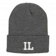 IL Illinois State Embroidered Long Beanie - Dk Grey