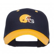 Football Helmet Embroidered Two Tone Cap - Gold Navy