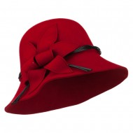 Wool Felt Cloche with Leaf - Red