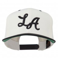 LA Embroidered Snapback Cap - Natural Black
