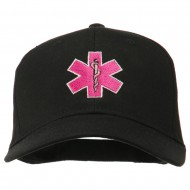 Pink Star of Life Embroidered Cotton Cap - Black