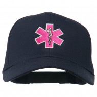 Pink Star of Life Embroidered Cotton Cap - Navy