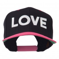 Love Embroidered Snapback Cap - Black Pink