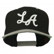 LA Embroidered Snapback Cap - Black Silver