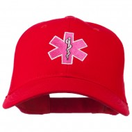 Pink Star of Life Embroidered Cotton Cap - Red