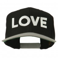 Love Embroidered Snapback Cap - Black Silver