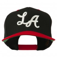 LA Embroidered Snapback Cap - Black Red