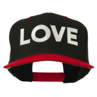 Love Embroidered Snapback Cap - Black Red