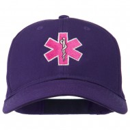 Pink Star of Life Embroidered Cotton Cap - Purple