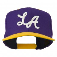 LA Embroidered Snapback Cap - Purple Gold