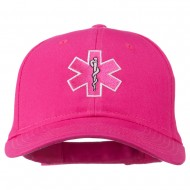 Pink Star of Life Embroidered Cotton Cap - Hot Pink