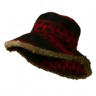 Lady's Brown Faux Fur Trim Hat - Red