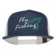 Flying Fishing Embroidered Snapback Mesh Cap - Navy White