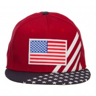 American Flag Patched Two Tone Snapback Cap - Silver