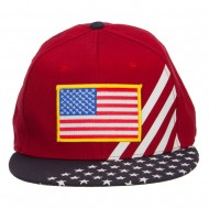 American Flag Patched Two Tone Snapback Cap - Yellow