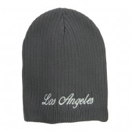 Los Angeles Embroidered Big Ribbed Beanie - Charcoal