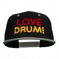 Love Drum Embroidered Two Tone Snapback Cap - Black Silver