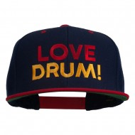 Love Drum Embroidered Two Tone Snapback Cap - Navy Red