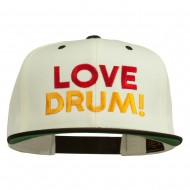 Love Drum Embroidered Two Tone Snapback Cap - Natural Black