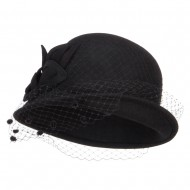 Leaf Flower Net Wool Cloche - Black