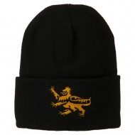 Lion Scroll Embroidered Long Beanie - Black