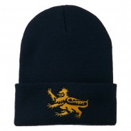 Lion Scroll Embroidered Long Beanie - Navy
