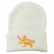 Lion Scroll Embroidered Long Beanie - White