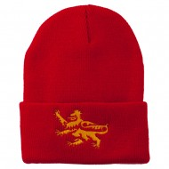 Lion Scroll Embroidered Long Beanie - Red