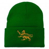 Lion Scroll Embroidered Long Beanie - Kelly