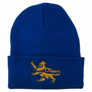 Lion Scroll Embroidered Long Beanie - Royal