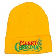 Merry Christmas Mistletoe Embroidered Long Beanie - Yellow