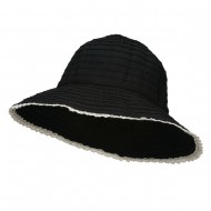 Crushable Bucket Hat With Flower Accent - Black