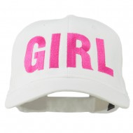 Girl Hip Hop Embroidered Cotton Twill Cap - White