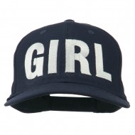 Girl Hip Hop Embroidered Cotton Twill Cap - Navy