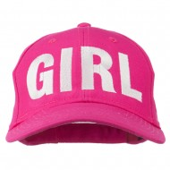 Girl Hip Hop Embroidered Cotton Twill Cap - Hot Pink
