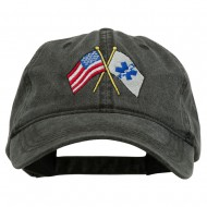 Flags Star of Life Embroidered Washed Cap - Black