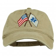 Flags Star of Life Embroidered Washed Cap - Khaki
