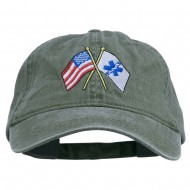 Flags Star of Life Embroidered Washed Cap - Olive
