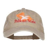 Louisiana Pelican State Embroidered Washed Cap - Khaki
