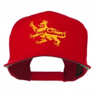 Lion Scroll Embroidered Flat Bill Cap - Red
