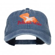 Louisiana Pelican State Embroidered Washed Cap - Navy