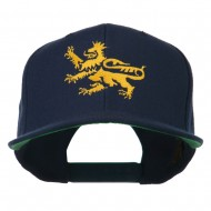 Lion Scroll Embroidered Flat Bill Cap - Navy