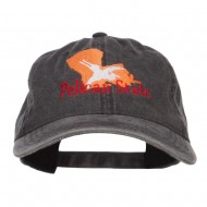 Louisiana Pelican State Embroidered Washed Cap - Black