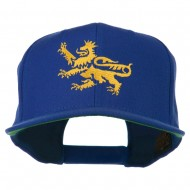Lion Scroll Embroidered Flat Bill Cap - Royal