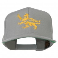 Lion Scroll Embroidered Flat Bill Cap - Silver