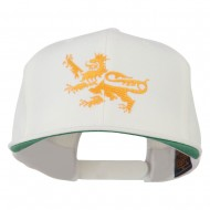 Lion Scroll Embroidered Flat Bill Cap - Natural